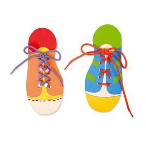 Fädelschuhe aus Holz; 2er Set Schuhe binden Holzspielzeug Sonstige